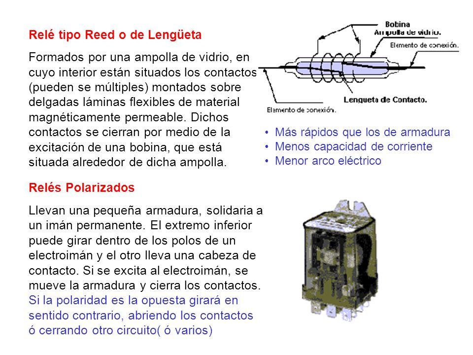 Relé tipo Reed o de Lengüeta Formados por una ampolla de vidrio, en cuyo interior están situados los contactos (pueden se múltiples) montados sobre de