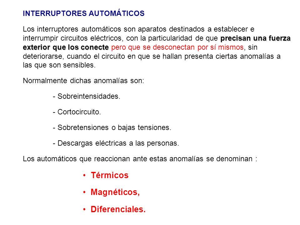 INTERRUPTORES AUTOMÁTICOS precisan una fuerza exterior que los conecte Los interruptores automáticos son aparatos destinados a establecer e interrumpi