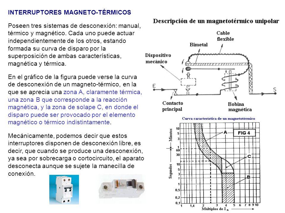 INTERRUPTORES MAGNETO-TÉRMICOS Poseen tres sistemas de desconexión: manual, térmico y magnético. Cada uno puede actuar independientemente de los otros