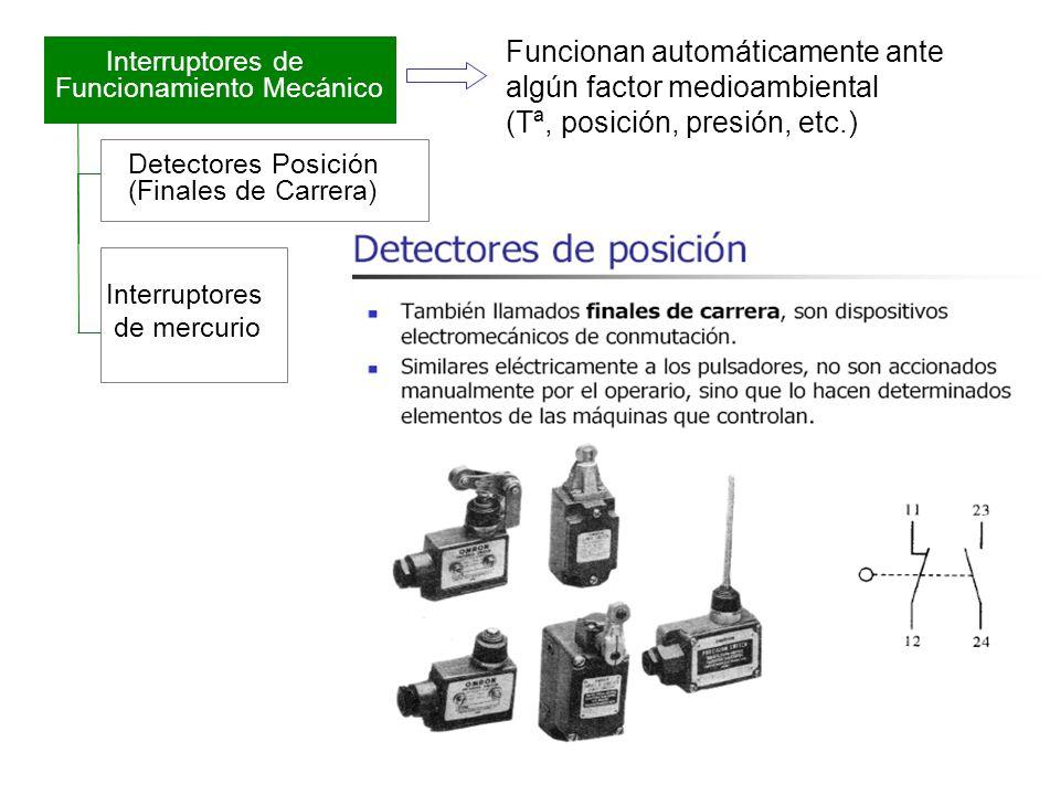 Detectores Posición (Finales de Carrera) Interruptores de mercurio Interruptores de Funcionamiento Mecánico Funcionan automáticamente ante algún facto