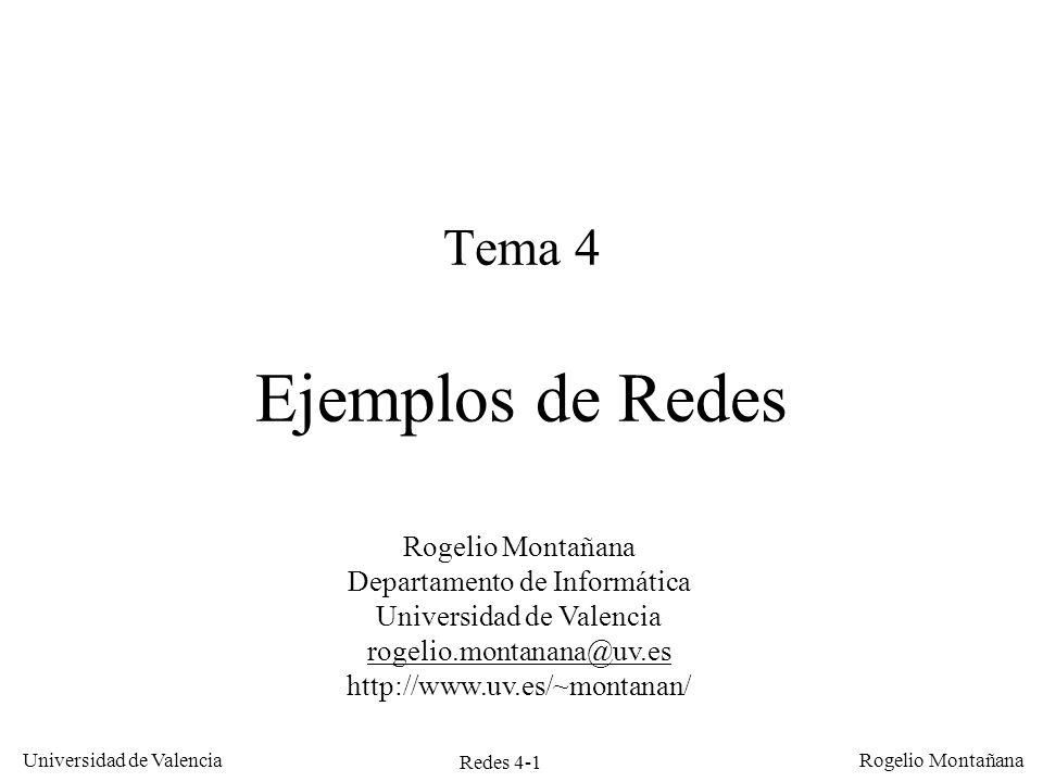 Redes 4-1 Universidad de Valencia Rogelio Montañana Tema 4 Ejemplos de Redes Rogelio Montañana Departamento de Informática Universidad de Valencia rog