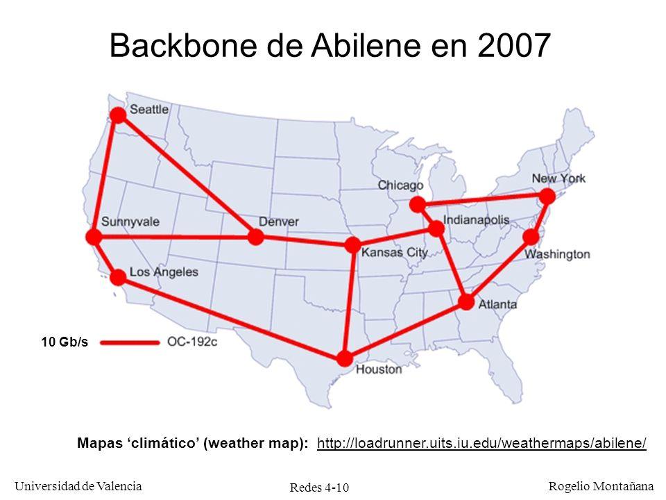 Redes 4-10 Universidad de Valencia Rogelio Montañana Backbone de Abilene en 2007 Mapas climático (weather map): http://loadrunner.uits.iu.edu/weatherm