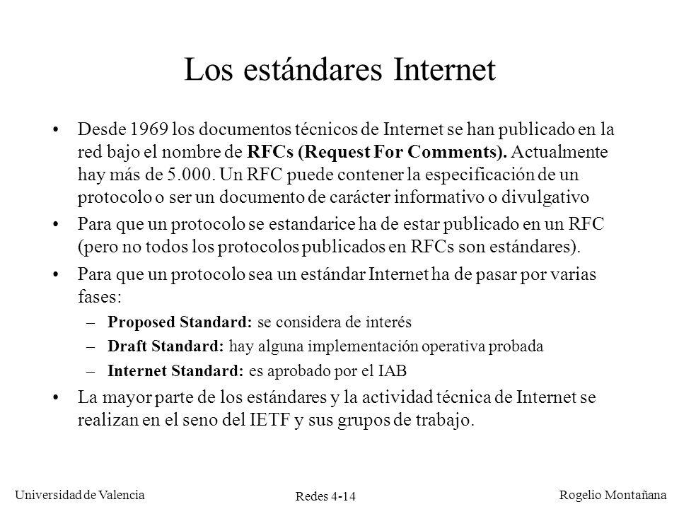 Redes 4-14 Universidad de Valencia Rogelio Montañana Los estándares Internet Desde 1969 los documentos técnicos de Internet se han publicado en la red
