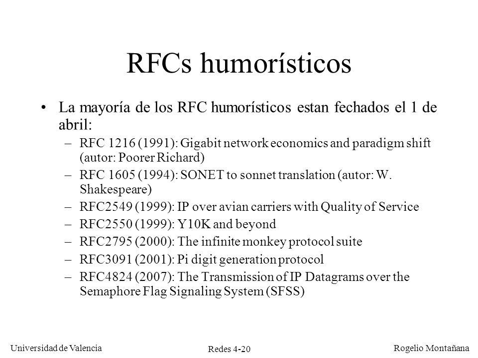 Redes 4-20 Universidad de Valencia Rogelio Montañana RFCs humorísticos La mayoría de los RFC humorísticos estan fechados el 1 de abril: –RFC 1216 (199