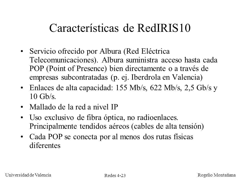Redes 4-23 Universidad de Valencia Rogelio Montañana Características de RedIRIS10 Servicio ofrecido por Albura (Red Eléctrica Telecomunicaciones). Alb