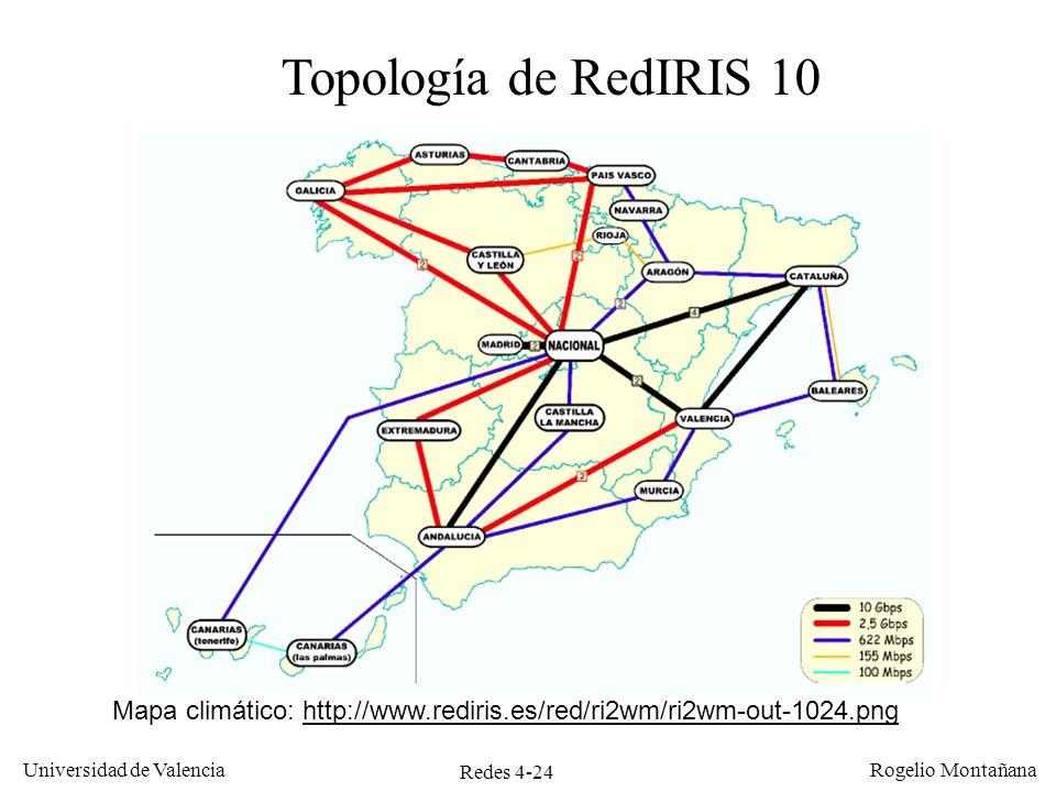 Redes 4-24 Universidad de Valencia Rogelio Montañana Topología de RedIRIS 10 Mapa climático: http://www.rediris.es/red/ri2wm/ri2wm-out-1024.pnghttp://