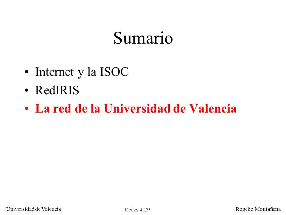 Redes 4-29 Universidad de Valencia Rogelio Montañana Sumario Internet y la ISOC RedIRIS La red de la Universidad de Valencia