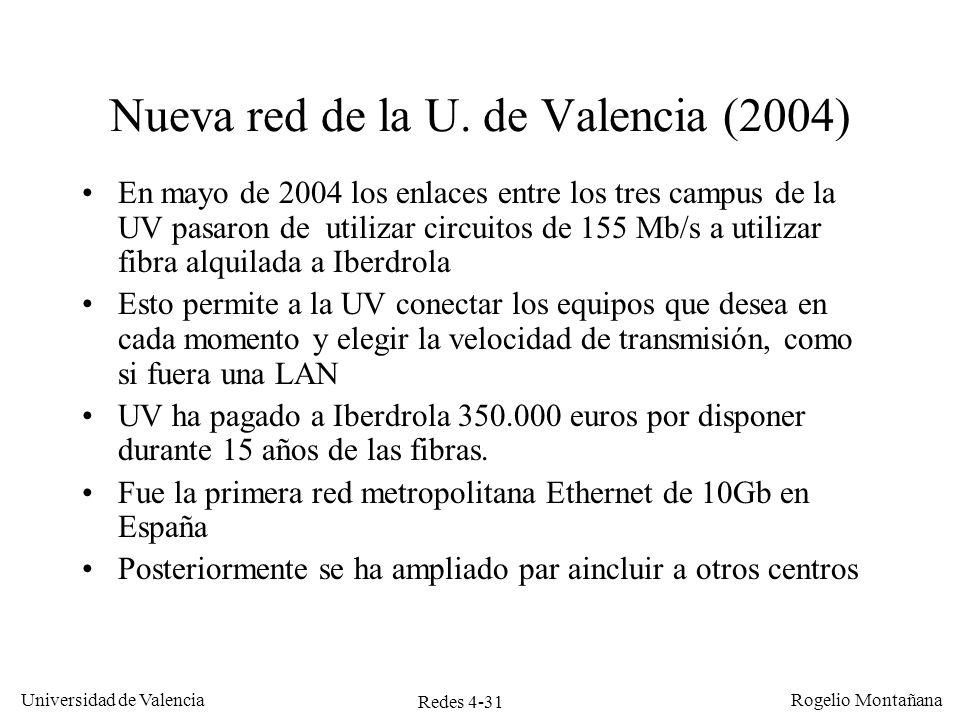 Redes 4-31 Universidad de Valencia Rogelio Montañana Nueva red de la U. de Valencia (2004) En mayo de 2004 los enlaces entre los tres campus de la UV