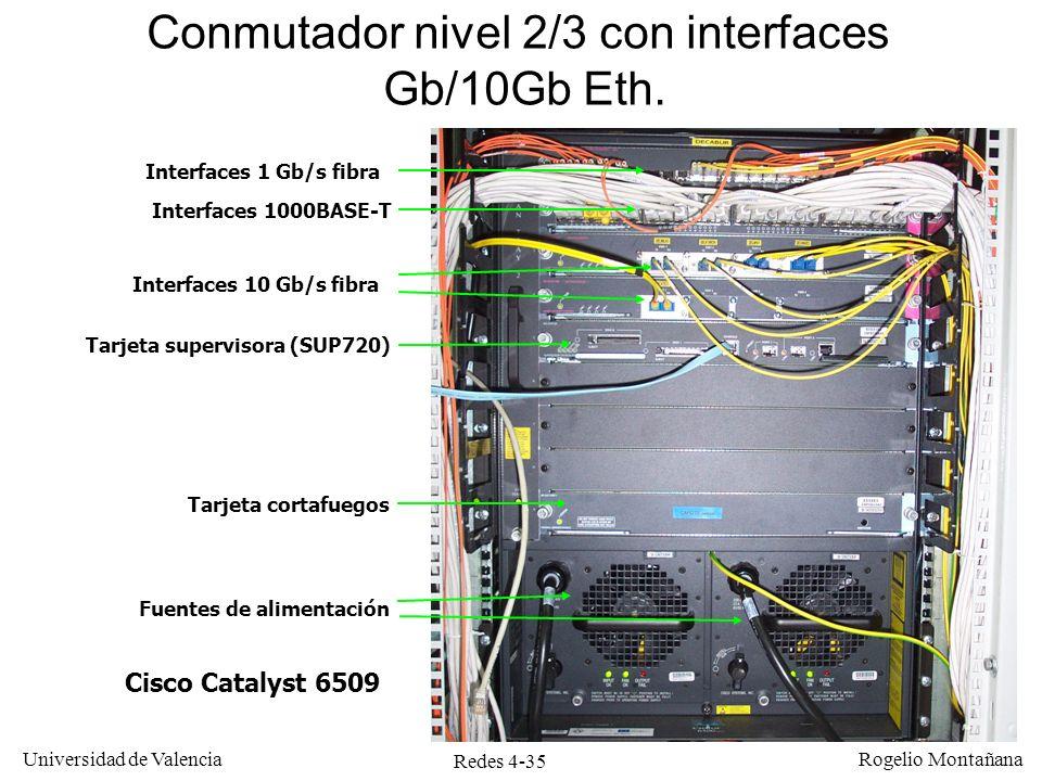 Redes 4-35 Universidad de Valencia Rogelio Montañana Interfaces 10 Gb/s fibra Cisco Catalyst 6509 Interfaces 1 Gb/s fibra Tarjeta supervisora (SUP720)