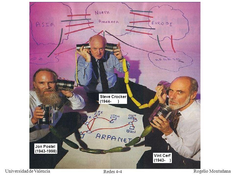 Redes 4-4 Universidad de Valencia Rogelio Montañana Jon Postel (1943-1998) Vint Cerf (1943- ) Steve Crocker (1944- )