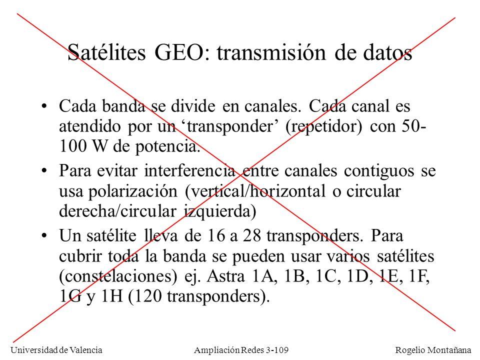 Universidad de Valencia Rogelio Montañana Satélites GEO: transmisión de datos Cada banda se divide en canales. Cada canal es atendido por un transpond