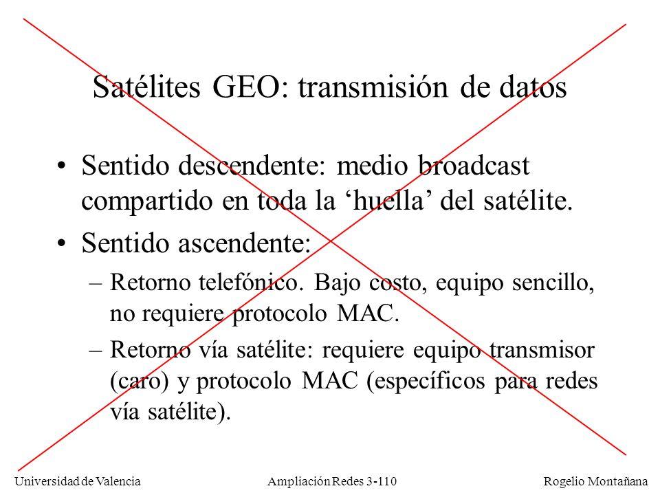 Universidad de Valencia Rogelio Montañana Satélites GEO: transmisión de datos Sentido descendente: medio broadcast compartido en toda la huella del sa