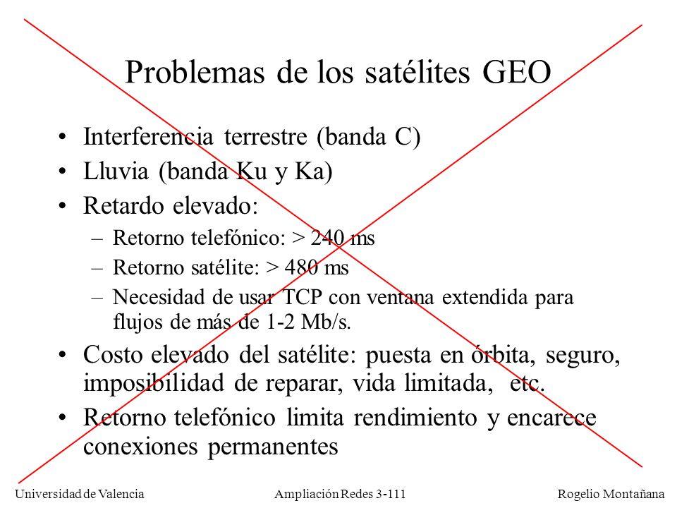 Universidad de Valencia Rogelio Montañana Problemas de los satélites GEO Interferencia terrestre (banda C) Lluvia (banda Ku y Ka) Retardo elevado: –Re