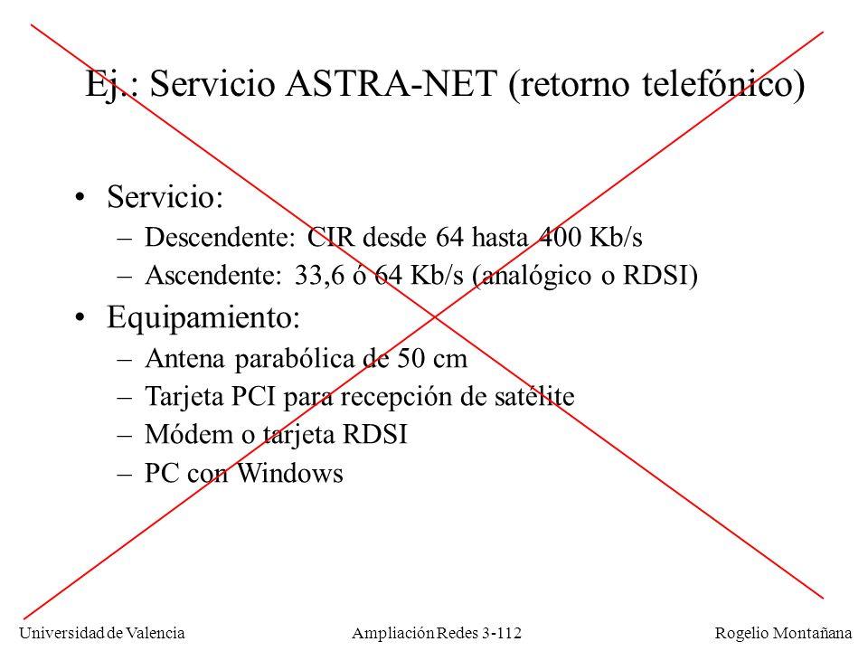 Universidad de Valencia Rogelio Montañana Ej.: Servicio ASTRA-NET (retorno telefónico) Servicio: –Descendente: CIR desde 64 hasta 400 Kb/s –Ascendente