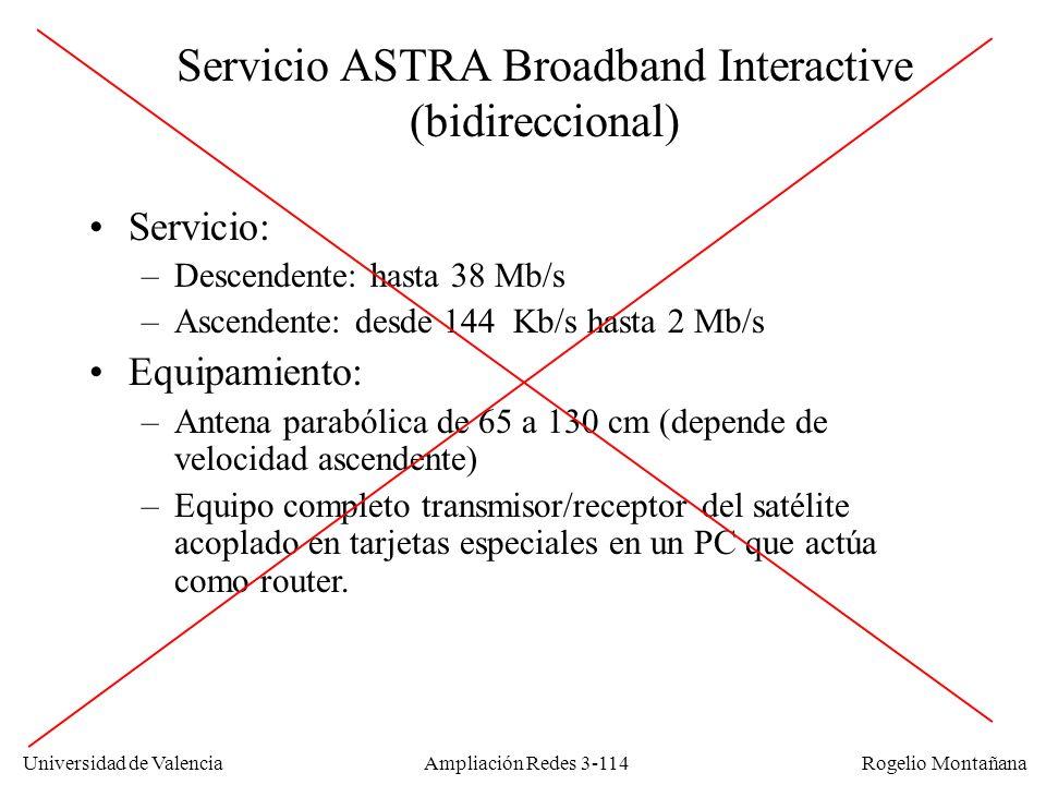 Universidad de Valencia Rogelio Montañana Servicio ASTRA Broadband Interactive (bidireccional) Servicio: –Descendente: hasta 38 Mb/s –Ascendente: desd