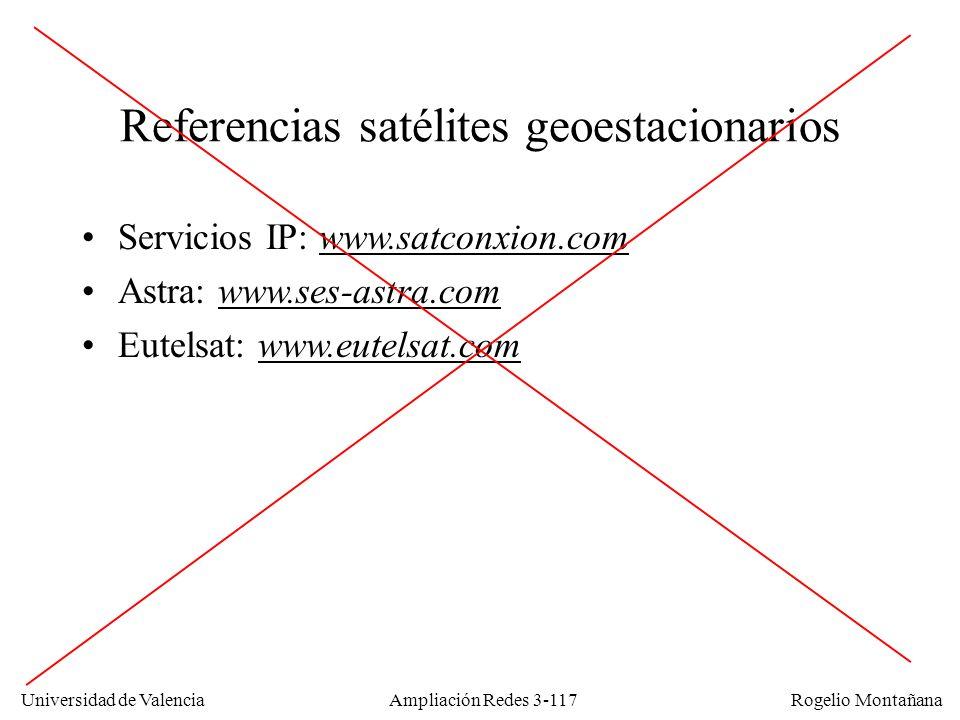Universidad de Valencia Rogelio Montañana Referencias satélites geoestacionarios Servicios IP: www.satconxion.comwww.satconxion.com Astra: www.ses-ast