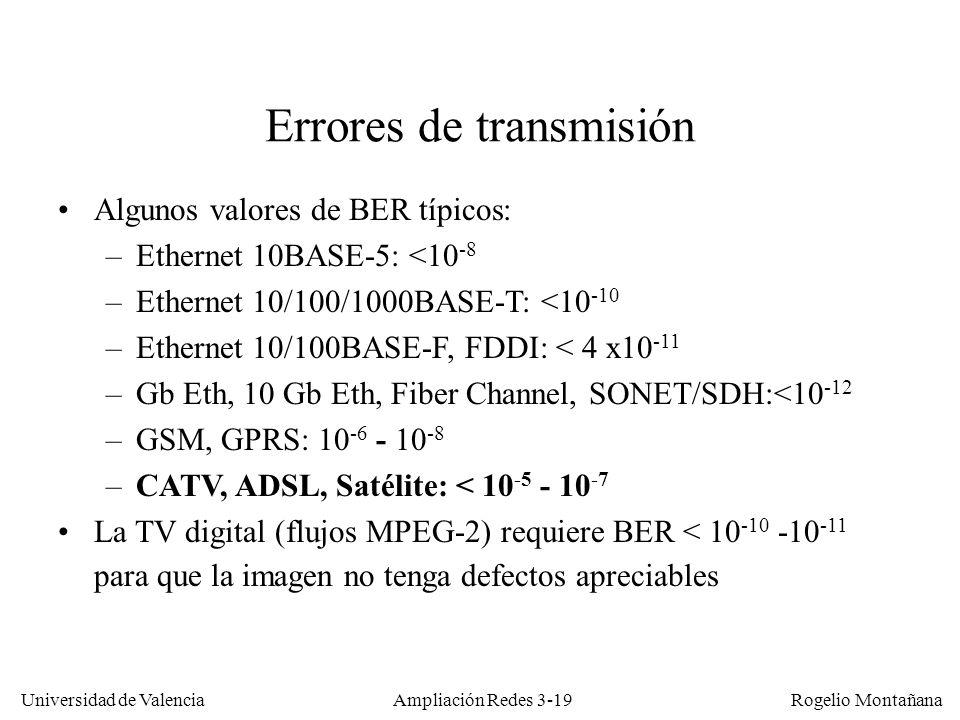 Universidad de Valencia Rogelio Montañana Errores de transmisión Algunos valores de BER típicos: –Ethernet 10BASE-5: <10 -8 –Ethernet 10/100/1000BASE-