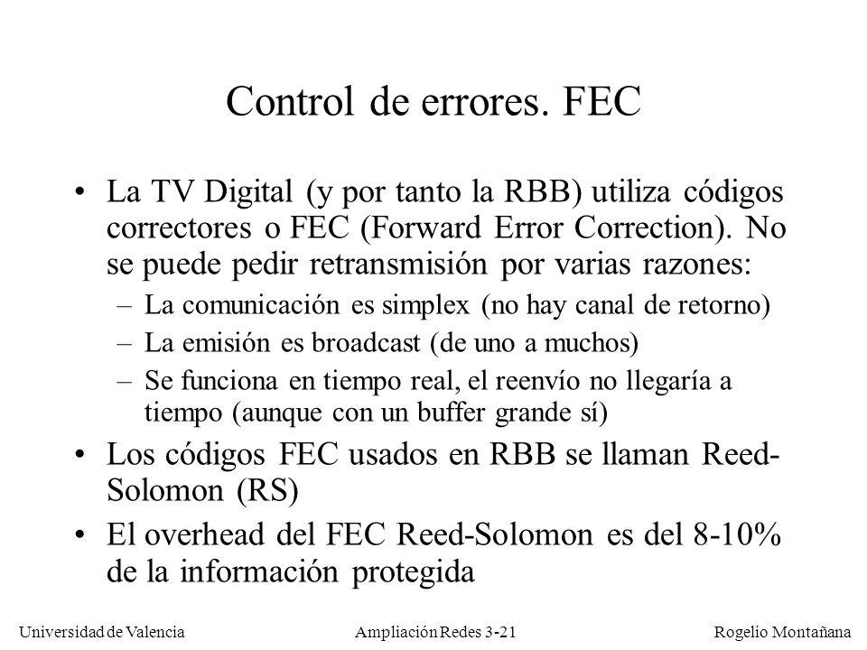 Universidad de Valencia Rogelio Montañana Control de errores. FEC La TV Digital (y por tanto la RBB) utiliza códigos correctores o FEC (Forward Error