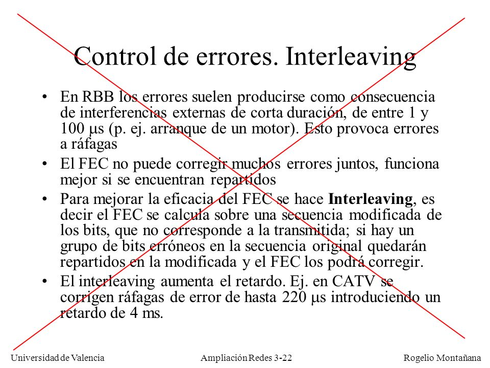 Universidad de Valencia Rogelio Montañana Control de errores. Interleaving En RBB los errores suelen producirse como consecuencia de interferencias ex