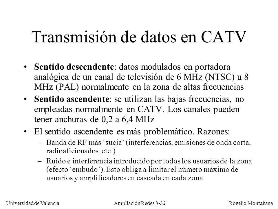 Universidad de Valencia Rogelio Montañana Transmisión de datos en CATV Sentido descendente: datos modulados en portadora analógica de un canal de tele