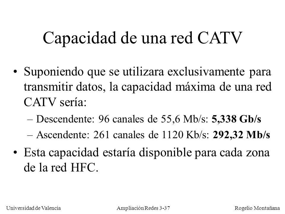 Universidad de Valencia Rogelio Montañana Capacidad de una red CATV Suponiendo que se utilizara exclusivamente para transmitir datos, la capacidad máx