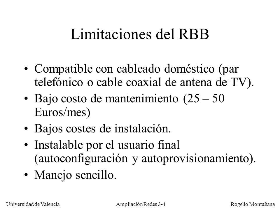 Universidad de Valencia Rogelio Montañana Parámetros ATM de ADSL en España Entre julio y octubre de 2005 Telefónica aumentó las velocidades de los accesos ADSL de la siguiente forma: (http://www.telefonicaonline.com/qx/manual/RE_04_07_22_10_Upgrade.pdf )http://www.telefonicaonline.com/qx/manual/RE_04_07_22_10_Upgrade.pdf ServicioPCR antes (desc./asc., Kb/s) PCR después (desc./asc., Kb/s) SCR * (%) CDVT (ms) MBS (celdas) Reducido512 / 128 (UBR)1000 / 300 (UBR)--- Básico512 / 1281000 / 30010.
