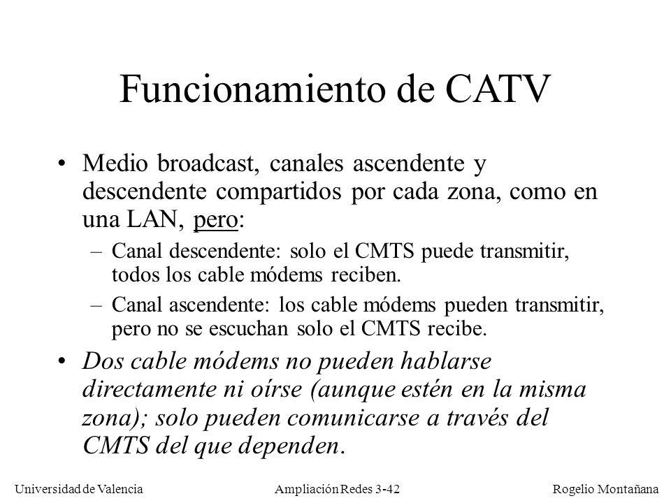 Universidad de Valencia Rogelio Montañana Funcionamiento de CATV Medio broadcast, canales ascendente y descendente compartidos por cada zona, como en