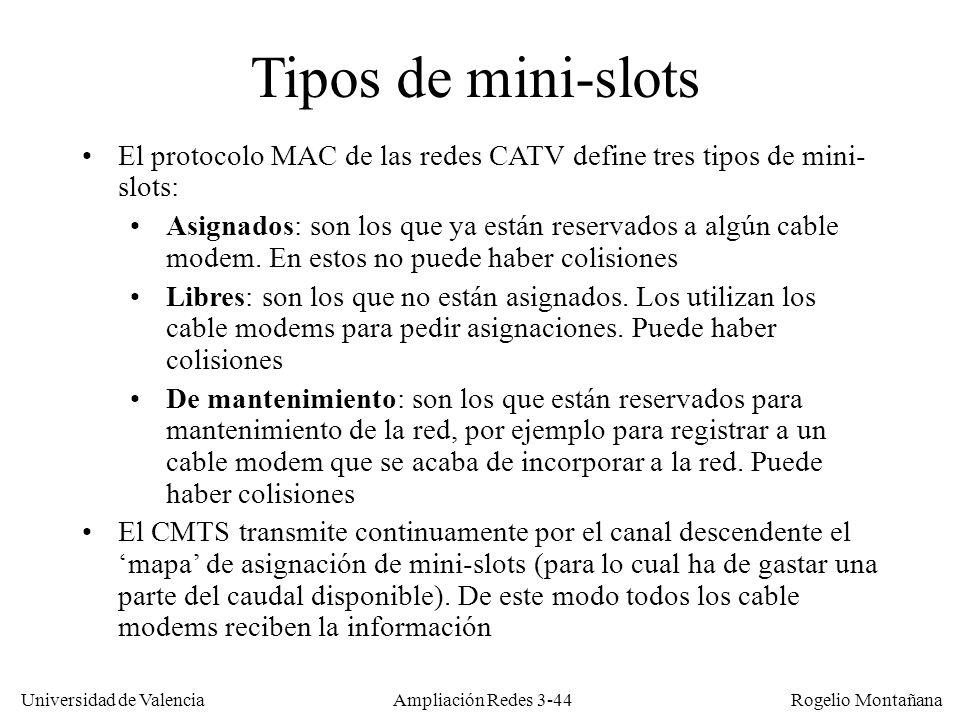 Universidad de Valencia Rogelio Montañana Tipos de mini-slots El protocolo MAC de las redes CATV define tres tipos de mini- slots: Asignados: son los
