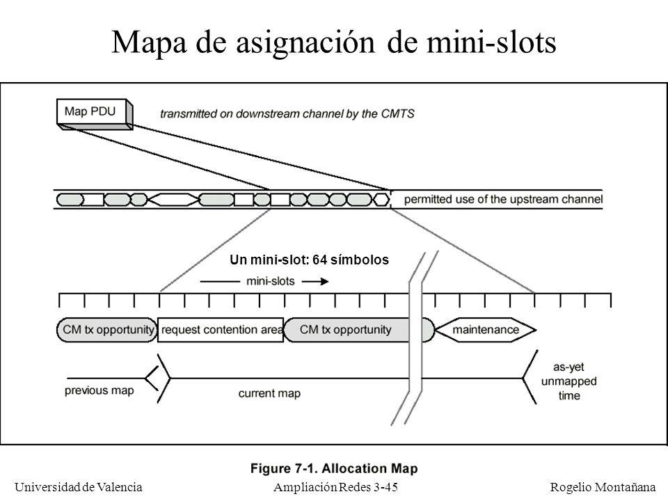 Universidad de Valencia Rogelio Montañana Mapa de asignación de mini-slots Un mini-slot: 64 símbolos Ampliación Redes 3-45