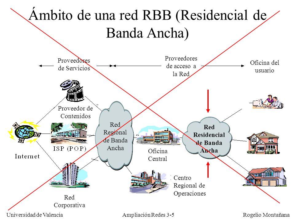 Universidad de Valencia Rogelio Montañana Caudales brutos en redes CATV Debido al overhead introducido por el FEC-RS y a otros factores los caudales netos son aproximadamente un 10-15% menores que los brutos Anchura (KHz) Ksímb/sCaudales (Kb/s) QPSK16 QAM32 QAM64 QAM128 QAM 2001603206408009601120 4003206401280160019202240 80064012802560320038404480 1600128025605120640076808960 32002560512010240128001536017920 640051201024020480256003072035840 Anchura (MHz) Ksímb/sCaudales (Kb/s) 64-QAM256-QAM 6 (NTSC)505730342 6 (NTSC)536142888 8 (PAL)69524171255616 Asc.