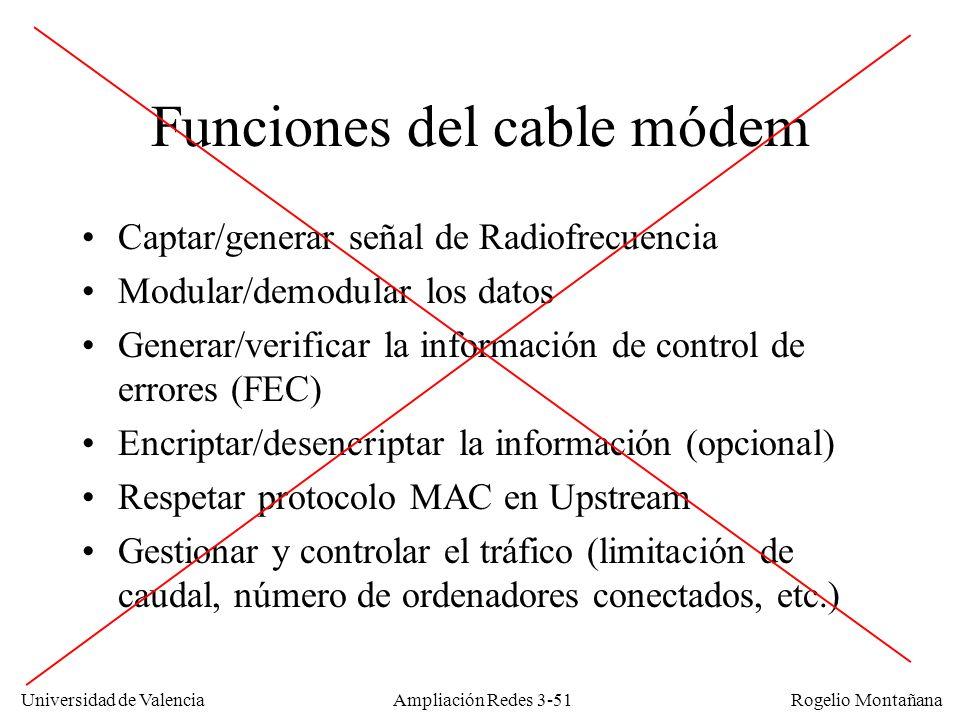 Universidad de Valencia Rogelio Montañana Funciones del cable módem Captar/generar señal de Radiofrecuencia Modular/demodular los datos Generar/verifi