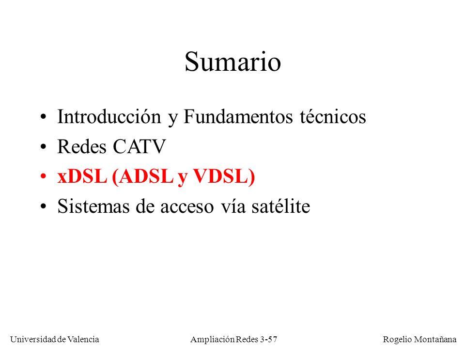 Universidad de Valencia Rogelio Montañana Sumario Introducción y Fundamentos técnicos Redes CATV xDSL (ADSL y VDSL) Sistemas de acceso vía satélite Am