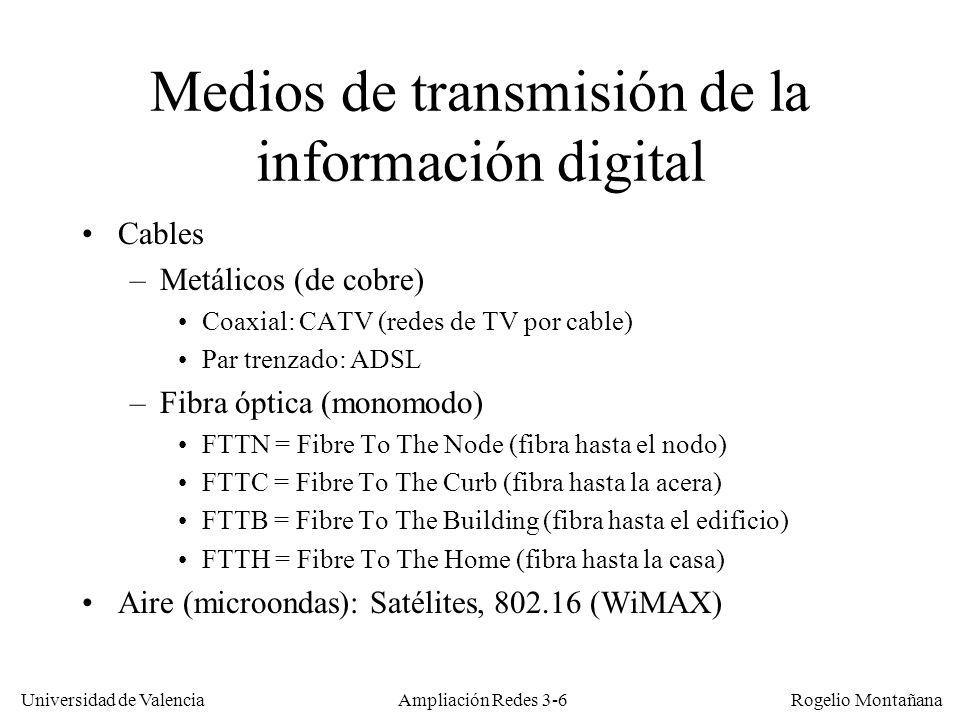Universidad de Valencia Rogelio Montañana Ley de Shannon: Ejemplos Canal telefónico: BW = 3,1 KHz y S/R = 36 dB –Capacidad = 3,1 KHz * log 2 (3982) = 37,1 Kb/s –Eficiencia: 12 bits/Hz Canal TV PAL: BW = 8 MHz y S/R = 46 dB –Capacidad = 8 MHz * log 2 (39812) = 122,2 Mb/s –Eficiencia: 15,3 bits/Hz 10 3,6 = 3981 10 4,6 = 39811 Regla nemotécnica de Shannon: bits/Hz = Relación Señal-Ruido / 3 Ampliación Redes 3-17