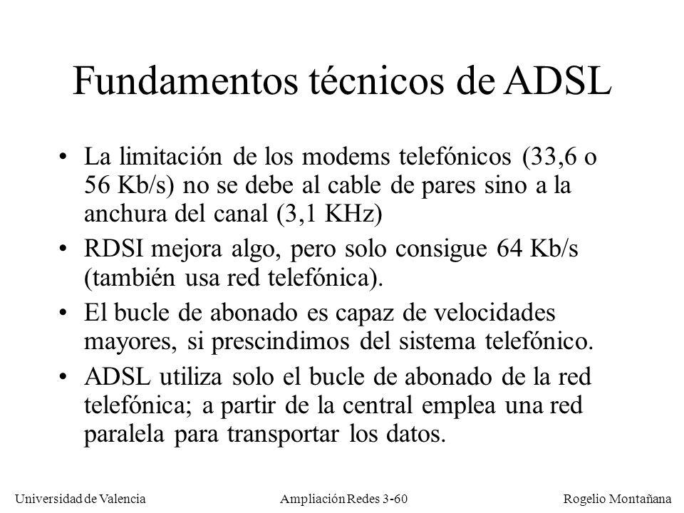 Universidad de Valencia Rogelio Montañana Fundamentos técnicos de ADSL La limitación de los modems telefónicos (33,6 o 56 Kb/s) no se debe al cable de