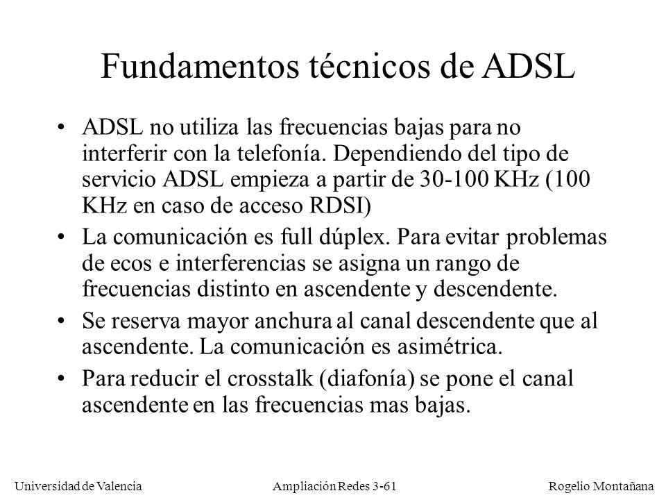 Universidad de Valencia Rogelio Montañana Fundamentos técnicos de ADSL ADSL no utiliza las frecuencias bajas para no interferir con la telefonía. Depe