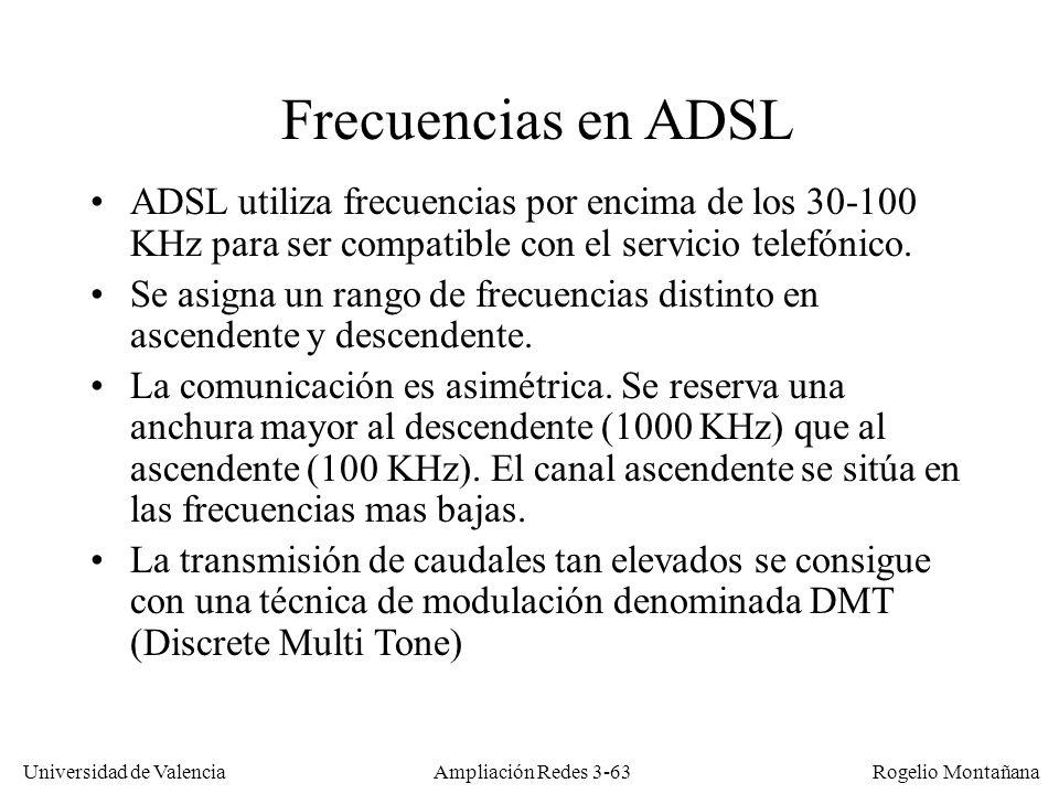 Universidad de Valencia Rogelio Montañana Frecuencias en ADSL ADSL utiliza frecuencias por encima de los 30-100 KHz para ser compatible con el servici