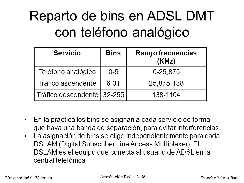 Universidad de Valencia Rogelio Montañana Reparto de bins en ADSL DMT con teléfono analógico ServicioBinsRango frecuencias (KHz) Teléfono analógico0-5