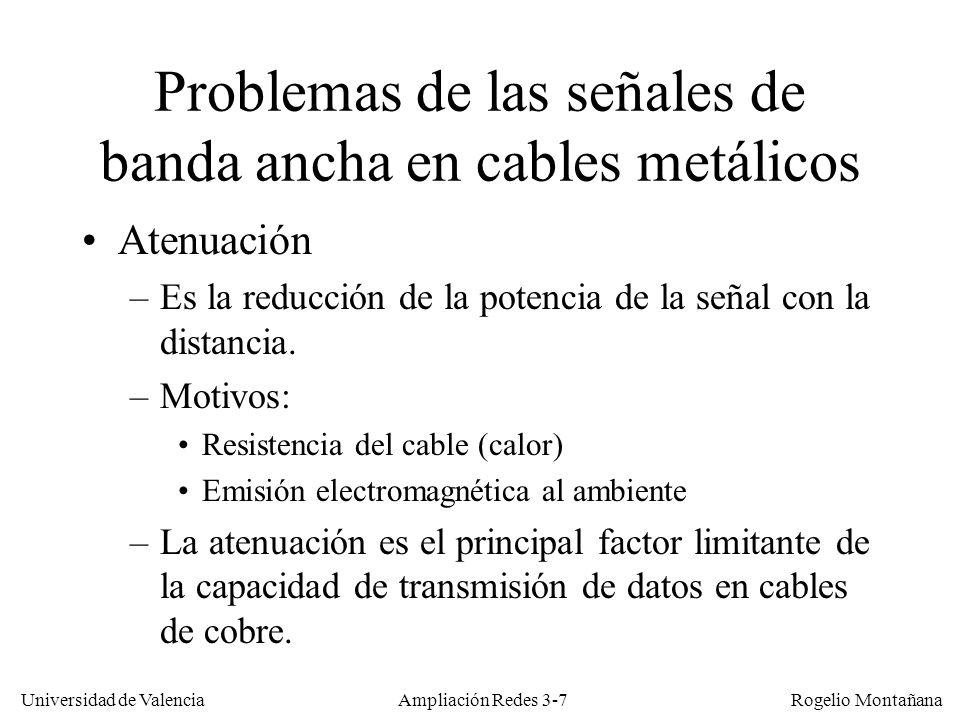 Universidad de Valencia Rogelio Montañana Esquema de una zona en una red CATV Canal Descendente (854- 862 MHz) 41,7 Mb/s compartidos por 3 usuarios (1) (2) (3) Un canal ascendente (29,7–31,3 MHz) 2,56 Mb/s compartidos por 3 usuarios (3) (1) (2) Dos canales ascendentes (29,7-31,3 y 31,3-32,9 MHz) 2,56 Mb/s compartidos por usuarios 1 y 3 2,56 Mb/s dedicados al usuario 2 Ampliación Redes 3-38 Cable módem CMTS (Cable Módem Termination System)