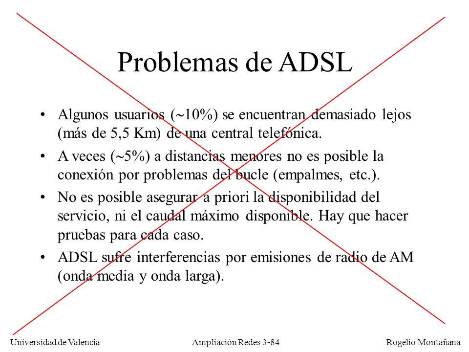 Universidad de Valencia Rogelio Montañana Problemas de ADSL Algunos usuarios ( 10%) se encuentran demasiado lejos (más de 5,5 Km) de una central telef