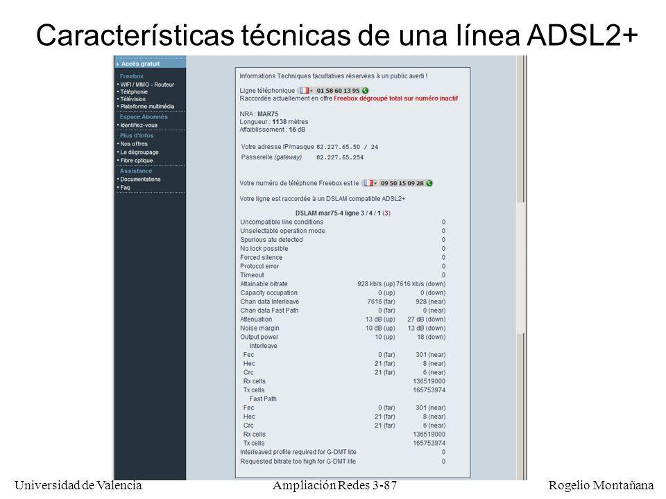 Universidad de Valencia Rogelio Montañana Características técnicas de una línea ADSL2+ Ampliación Redes 3-87