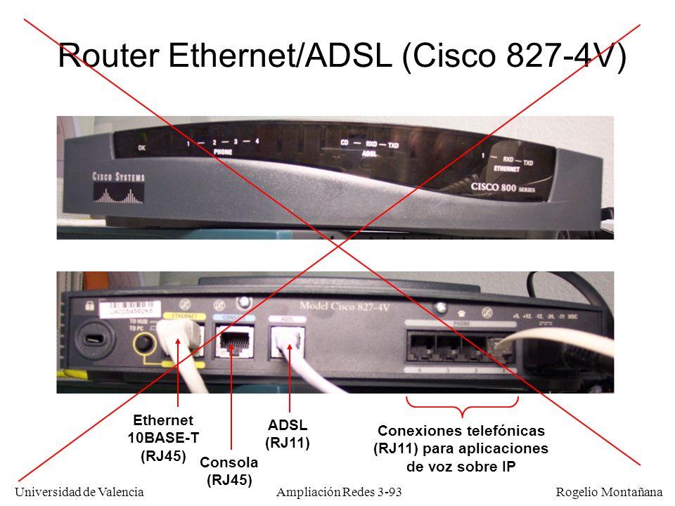Universidad de Valencia Rogelio Montañana Router Ethernet/ADSL (Cisco 827-4V) Ethernet 10BASE-T (RJ45) Consola (RJ45) ADSL (RJ11) Conexiones telefónic