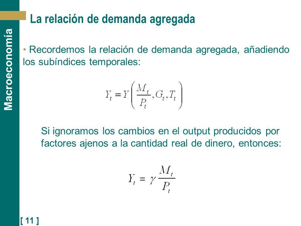 [ 11 ] Macroeconomía La relación de demanda agregada Recordemos la relación de demanda agregada, añadiendo los subíndices temporales: Si ignoramos los