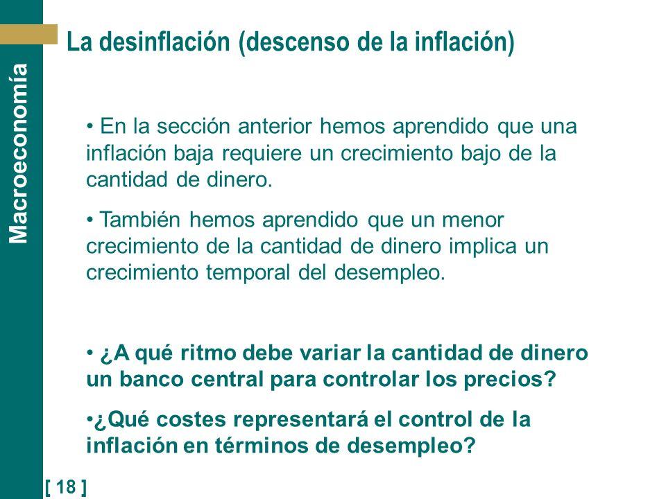 [ 18 ] Macroeconomía La desinflación (descenso de la inflación) En la sección anterior hemos aprendido que una inflación baja requiere un crecimiento