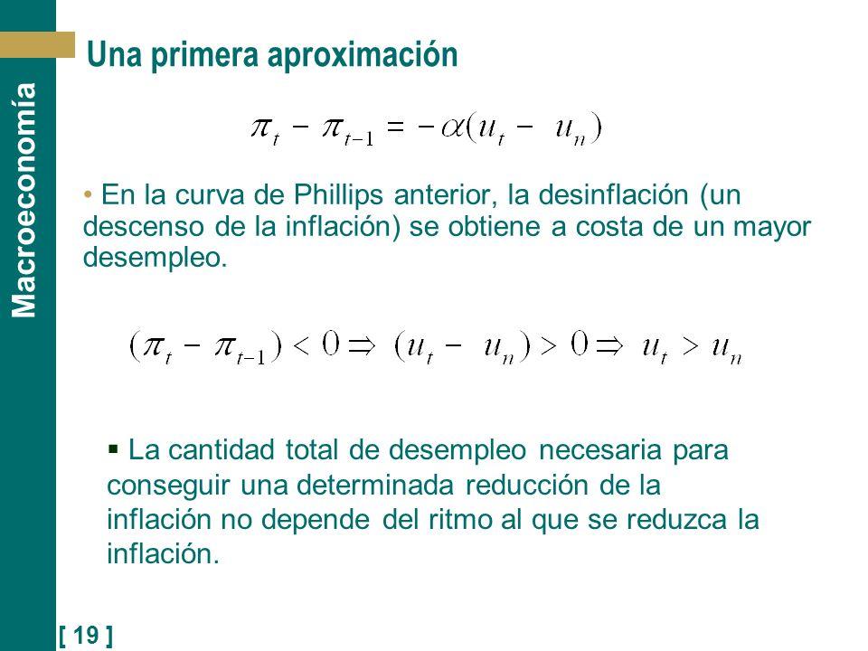 [ 19 ] Macroeconomía Una primera aproximación En la curva de Phillips anterior, la desinflación (un descenso de la inflación) se obtiene a costa de un