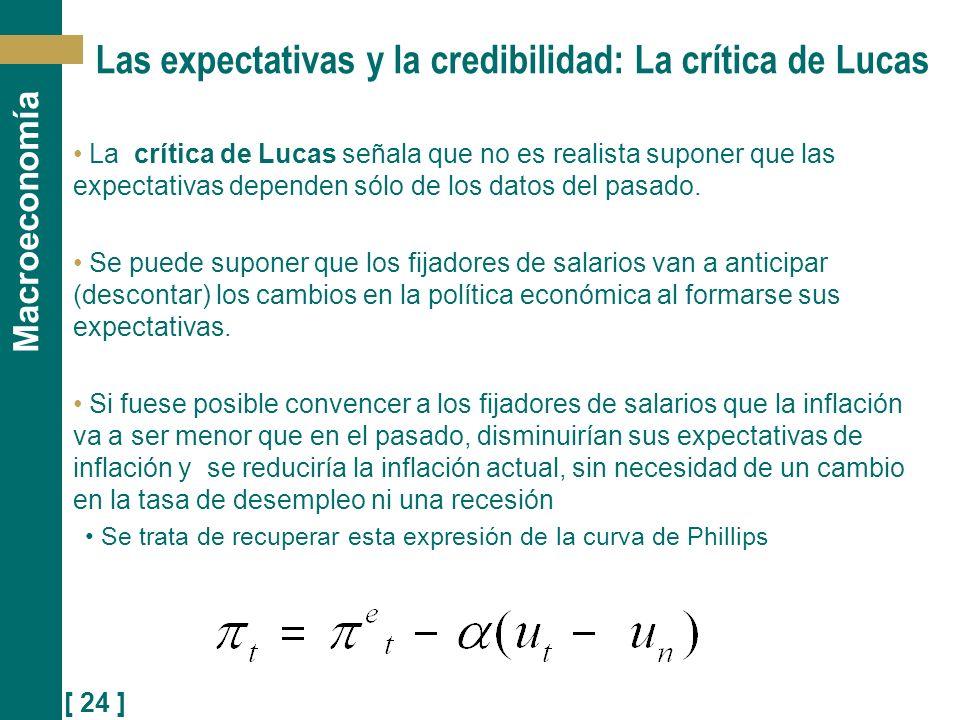 [ 24 ] Macroeconomía Las expectativas y la credibilidad: La crítica de Lucas La crítica de Lucas señala que no es realista suponer que las expectativa