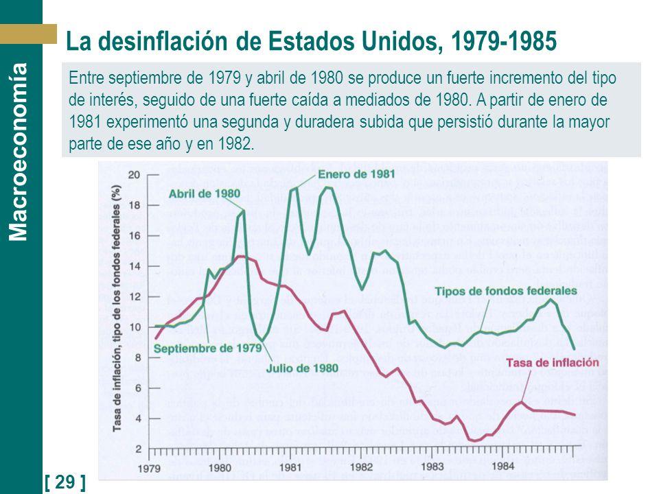 [ 29 ] Macroeconomía La desinflación de Estados Unidos, 1979-1985 Entre septiembre de 1979 y abril de 1980 se produce un fuerte incremento del tipo de