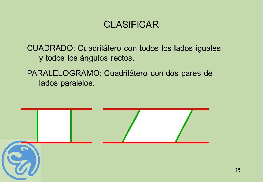 15 CLASIFICAR CUADRADO: Cuadrilátero con todos los lados iguales y todos los ángulos rectos. PARALELOGRAMO: Cuadrilátero con dos pares de lados parale