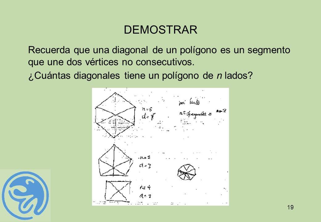 19 DEMOSTRAR Recuerda que una diagonal de un polígono es un segmento que une dos vértices no consecutivos. ¿Cuántas diagonales tiene un polígono de n