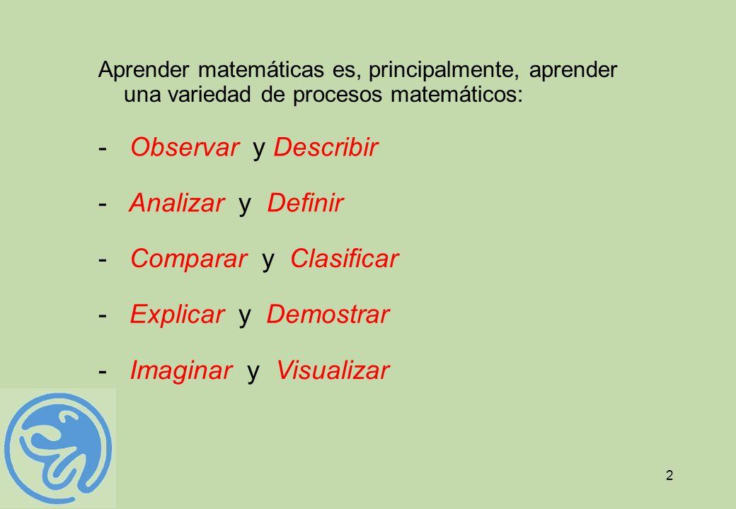 2 Aprender matemáticas es, principalmente, aprender una variedad de procesos matemáticos: - Comparar y Clasificar - Explicar y Demostrar - Analizar y