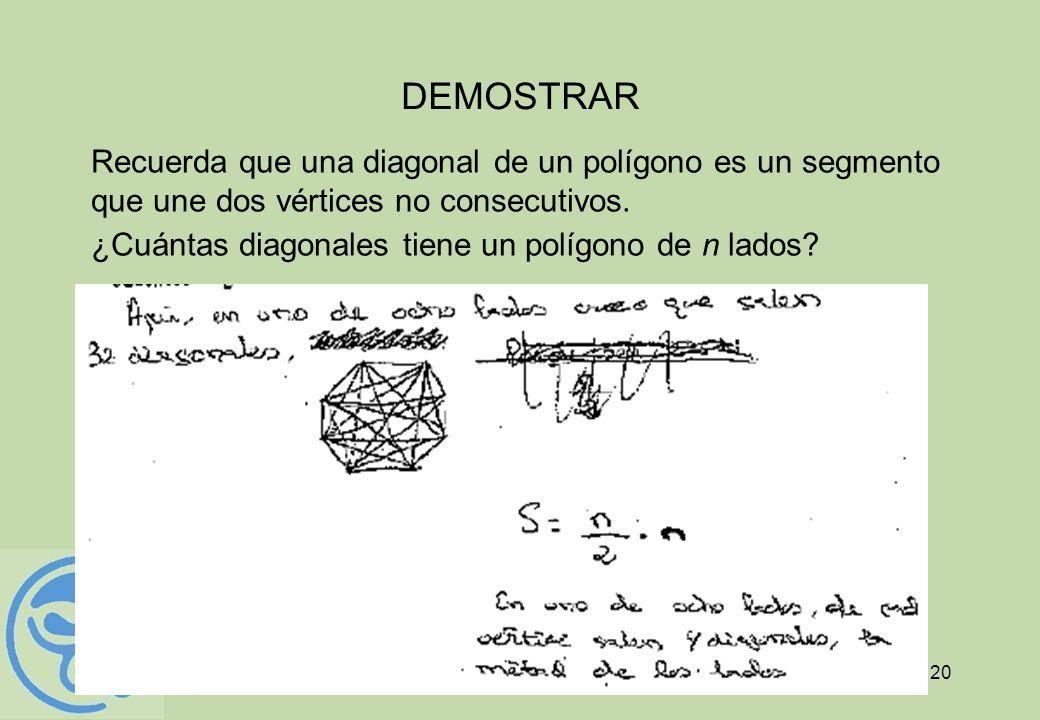 20 DEMOSTRAR Recuerda que una diagonal de un polígono es un segmento que une dos vértices no consecutivos. ¿Cuántas diagonales tiene un polígono de n